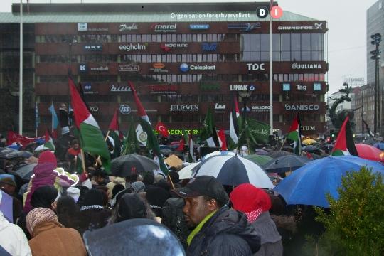 Gaza-demo fra Rådhuspladsen i København til Christiansborg 3. januar 2009 - i massivt regnvejr