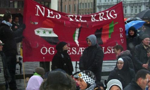 DKU banner på Gaza-demonstrationen Rådhuspladsen i København 3. januar 2009