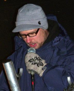 Lars Grenaa ved demo ved den israelske ambassade 4. januar 2009