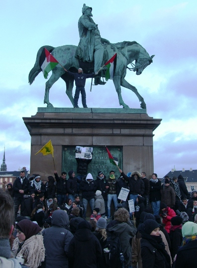 Lad Gaza Leve Rytterstatuen Christiansborg 17. januar 2009