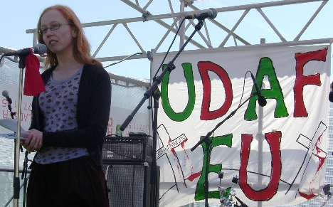 Johanne Langdal Kristiansen Folkebevægelsne mod EU Den røde Plads 1. maj 2009
