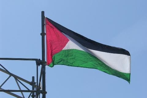 Det palæstinensiske fklag over scenen på den røde Plads
