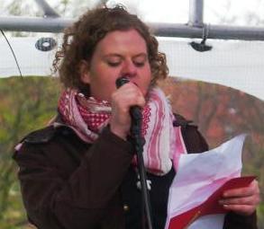 DKUs formand Cathrine Petersen på Den røde Plads  i Fælledparken 1. maj 2010