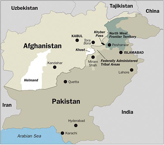Kort over Afghanistan og Pakistan