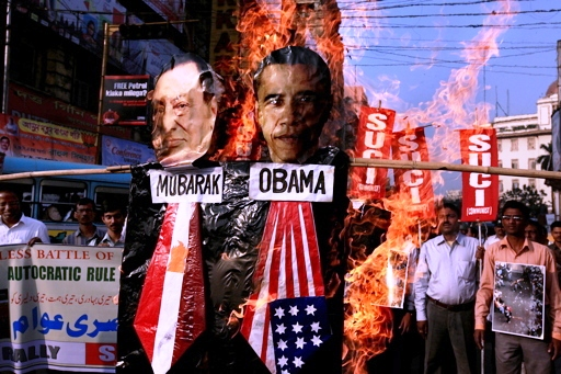 Mubarak og Obama i Cairos gader