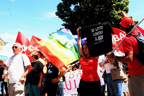 Protester mod G8 i l'Aquila, Italien juli 2009
