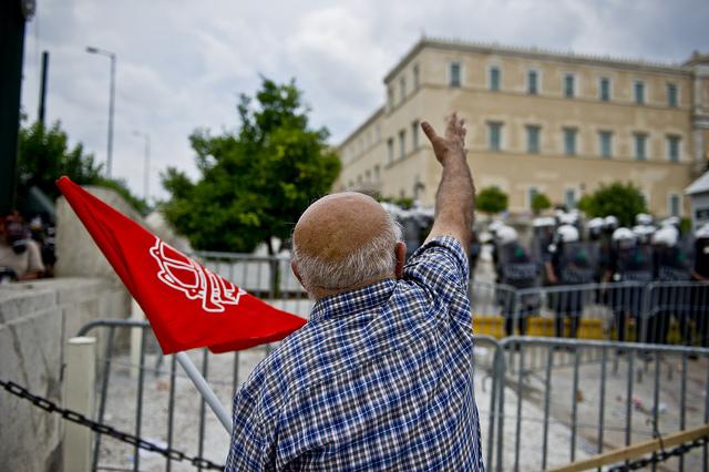 Protest foran det græske parlament 15. juni 2011