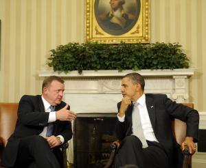 Obama og Lars Løkke aftaler Libyen-krig