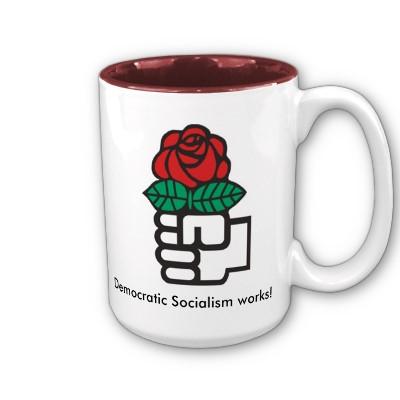 Socialistisk Internationales logo: Demokratisk socialisme arbejder - for imperialisme og kapital
