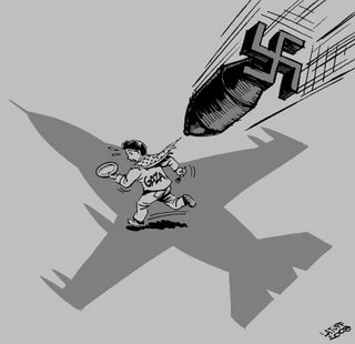 2008 sluttede i blod: Israelsk massakre mod Gaza Tegning af Carlos Latuff