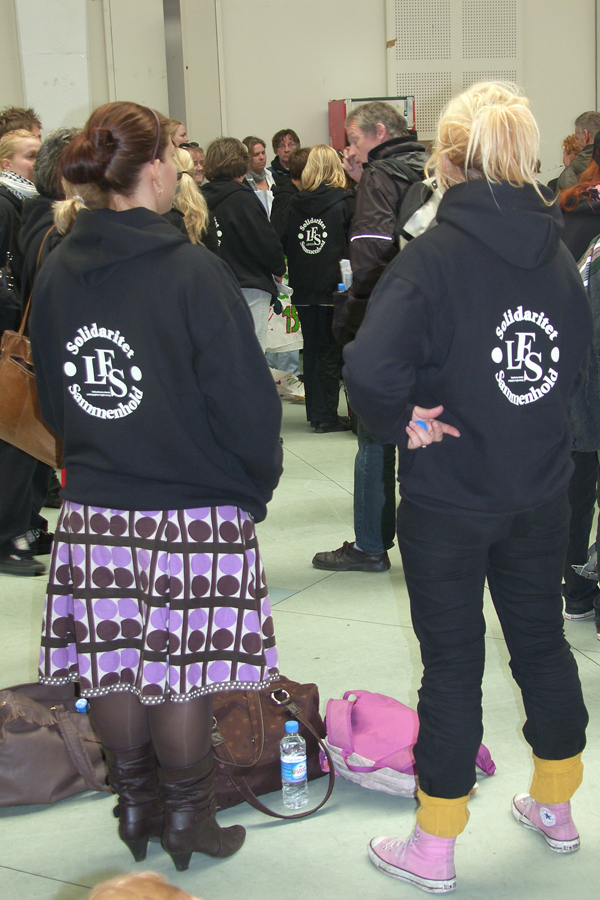 Fra LFS' stormøde i Nørrebrohallen for de strejkende 16. april