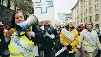 Vårdförbundet demo Stockholm Foto: Arbetaren