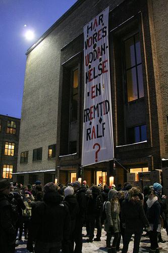 Vrede studerende blokerer geografi og geologi Københavns Universitet 1. februar 2010