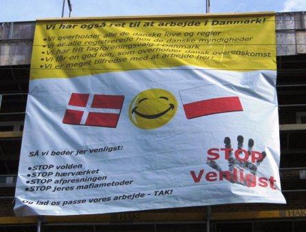 Banner i byggeriet Trekronergade Foto: Kommunistisk Politik