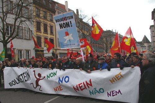 EU-arbejdere i protest mod service-direktivet (Bolkestein)