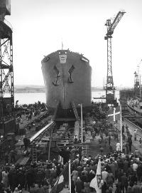 Søsætning på Aalborg Skibsværft, hvor B.C. Andersen (f. 1954) arbejdede i 70'erne