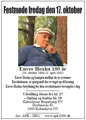 Enver Hoxha 100 år Plakat for festmødet i København
