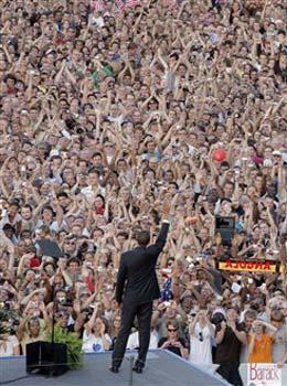 Obama taler til over 80.000 ved 'sejrssøjlen' i Berlin