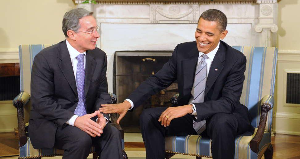Alvaro  Uribe og Barack Obama i Det Hvide Hus