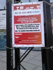 nej til krig mod syrien - plakat