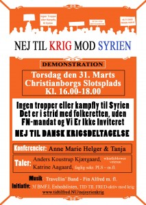 Nej til krig mod Syrien plakat