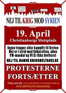 nej til krig 19 april