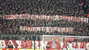 bayern fans display anti Zozulya banner no nazis