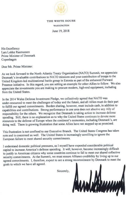 Trump i brev til Løkke: Send flere penge til krigsforberedelser og USA's våbenindustri | KPnet